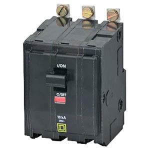 Schneider Electric / Square D QOB390 Miniature Circuit Breaker with Visi-Trip® Indicator; 90 Amp, 240 Volt AC, 48 Volt DC, 3-Pole, Bolt-On Mount