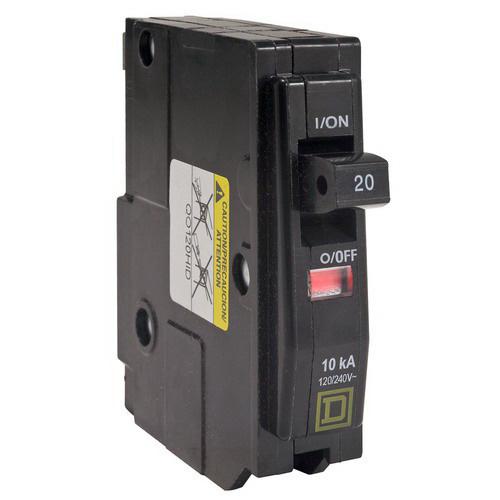 Schneider Electric / Square D QO120HID QO™ High Intensity Discharge Miniature Circuit Breaker; 20 Amp, 120/240 Volt AC, 1-Pole, Plug-On Mount