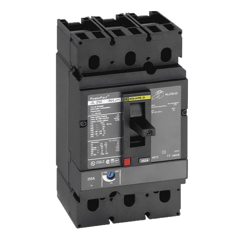 Schneider Electric / Square D JDL36150 PowerPact® Molded Case Circuit Breaker; 150 Amp, 600 Volt AC, 250 Volt DC, 3-Pole, Unit Mount