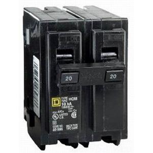 Schneider Electric / Square D  HOM220 Homeline™ Miniature Circuit Breaker; 20 Amp, 120/240 Volt AC, 2-Pole, Plug-On Mount