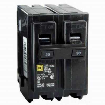 Schneider Electric / Square D  HOM230 Homeline™ Miniature Circuit Breaker; 30 Amp, 120/240 Volt AC, 2-Pole, Plug-On Mount