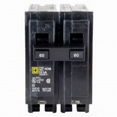 Schneider Electric / Square D  HOM260 Homeline™ Miniature Circuit Breaker; 60 Amp, 120/240 Volt AC, 2-Pole, Plug-On Mount