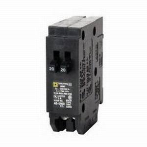Schneider Electric / Square D  HOMT2020 Homeline™ Tandem Circuit Breaker; 20/20 Amp, 120/240 Volt AC, 1-Pole, Plug-On Mount