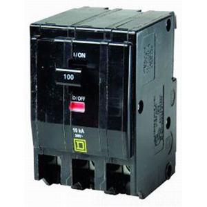 Schneider Electric / Square D QO31001021 QO™ Miniature Circuit Breaker with Shunt Trip; 100 Amp, 240 Volt AC, 3-Pole, Plug-On Mount