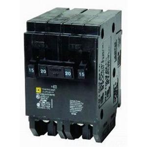 Schneider Electric / Square D  HOMT1515220 Homeline™ Quad Tandem Circuit Breaker; (2) Single Pole 15 Amp, (1) Two Pole 20 Amp, 120/240 Volt AC, 2-Pole, Plug-On Mount