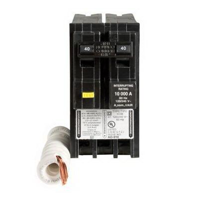 Schneider Electric / Square D HOM240GFI Homeline™ Ground Fault Miniature Circuit Breaker; 40 Amp, 120/240 Volt AC, 2-Pole, Plug-On Mount