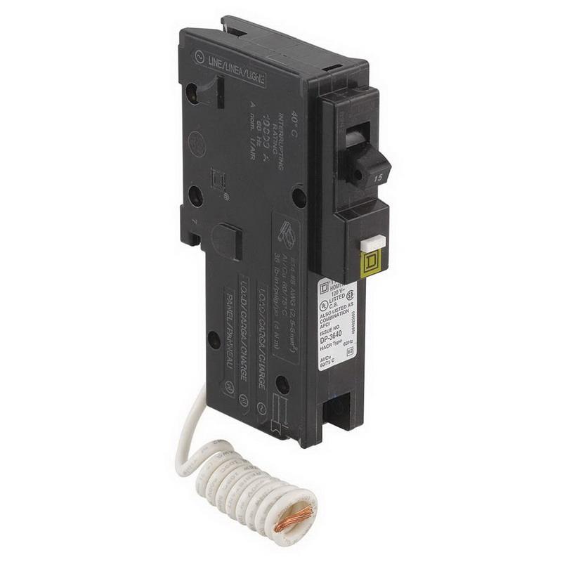 Schneider Electric / Square D  HOM115CAFI Homeline™ Combination Arc Fault Miniature Circuit Breaker; 15 Amp, 120 Volt AC, 1-Pole, Plug-On Mount