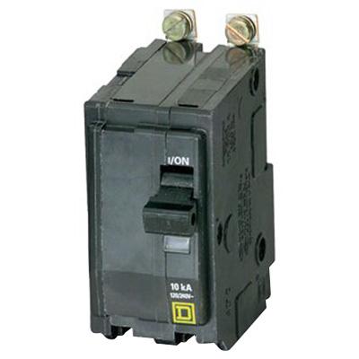 Schneider Electric / Square D  QOB215 Miniature Circuit Breaker with Visi-Trip® Indicator; 15 Amp, 120/240 Volt AC, 48 Volt DC, 2-Pole, Bolt-On Mount