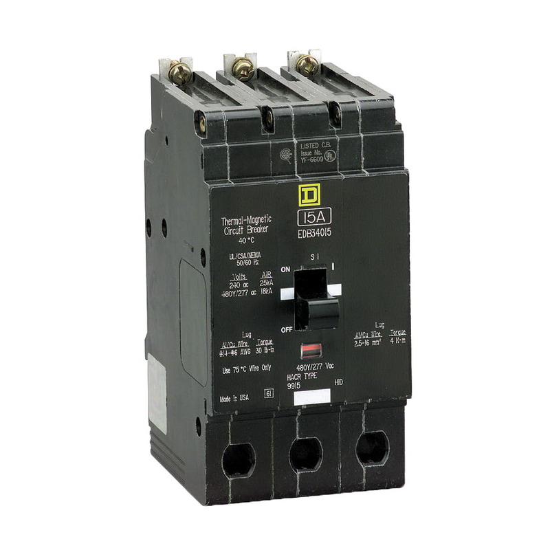 Schneider Electric / Square D EDB34090 Lighting Panelboard Miniature Circuit Breaker; 90 Amp, 480Y/277 Volt AC, 3-Pole, Bolt-On Mount