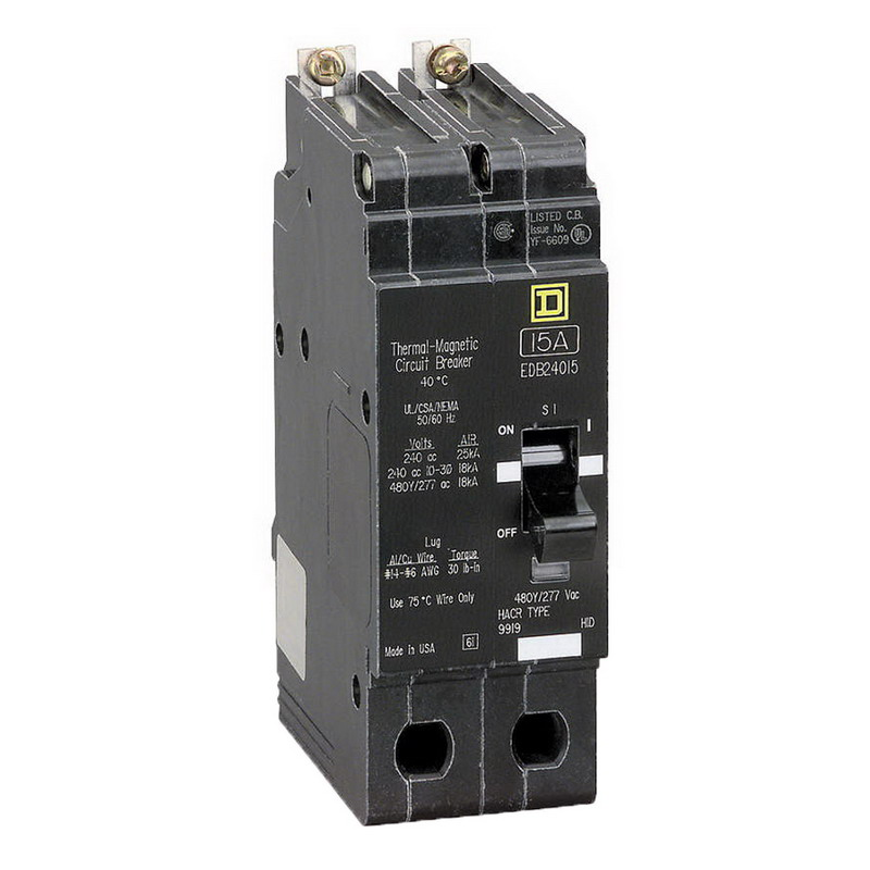 Schneider Electric / Square D EDB24015 Lighting Panelboard Miniature Circuit Breaker; 15 Amp, 480Y/277 Volt AC, 2-Pole, Bolt-On Mount