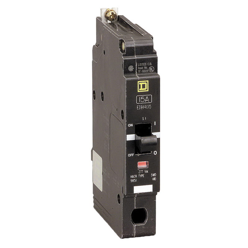 Schneider Electric / Square D EDB14015 Lighting Panelboard Miniature Circuit Breaker; 15 Amp, 277 Volt AC, 1-Pole, Bolt-On Mount