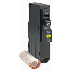 Schneider Electric / Square D  QOB120GFI Ground Fault Miniature Circuit Breaker; 20 Amp, 120 Volt AC, 1-Pole, Bolt-On Mount