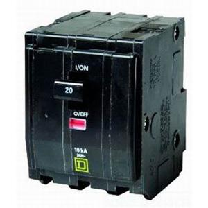 "Schneider Electric / Square D QO3201021 QO Miniature Circuit Breaker with Shunt Trip 20 Amp, 240 Volt AC, 3-Pole, Plug-On Mount,"""