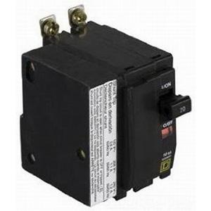 """Schneider Electric / Square D QOB2401021 Miniature Circuit Breaker with Shunt Trip 40 Amp, 120/240 Volt AC, 48 Volt DC, 2-Pole, Bolt-On Mount,"""""""