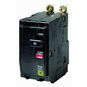 "Schneider Electric / Square D QOB245 Miniature Circuit Breaker with Visi-Trip Indicator 45 Amp, 120/240 Volt AC, 48 Volt DC, 2-Pole, Bolt-On Mount,"""