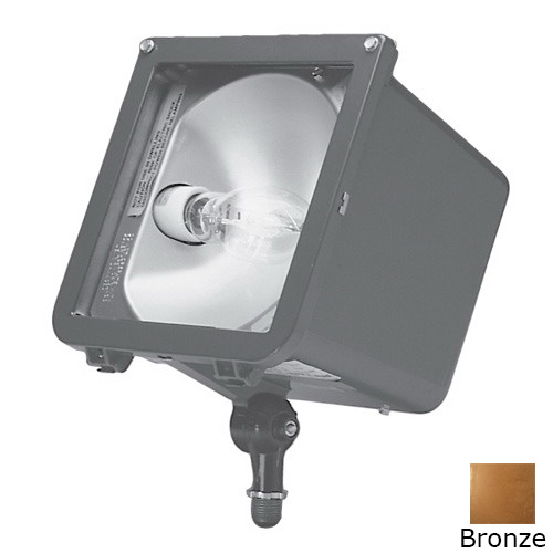 Hubbell Lighting MIC-0150P-358 Hubbell Outdoor 1-Light Knuckle Mount Microliter High Power Factor Outdoor Metal Halide Compact Flood With Rotatable Optics; 150 Watt, Bronze