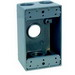 Thepitt TP7102 2-Gang Weatherproof Outlet Box and Extension; 5 Outlets, 1/2 Inch, (1) Back, (2) Each End, Gray, Feet Mount