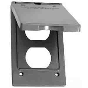 Thepitt TP7199 Commercial Products 1-Gang Self-Closing Vertical Duplex Cover With Gasket; Rectangular, Box Mount, Die-Cast, Zinc, Powder-Coated, Gray