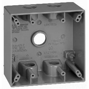 Thepitt TP7134 2-Gang Weatherproof Outlet Box and Extension; 5 Outlets, 1 Inch, (1) Back, (2) Each End, Gray, Feet Mount