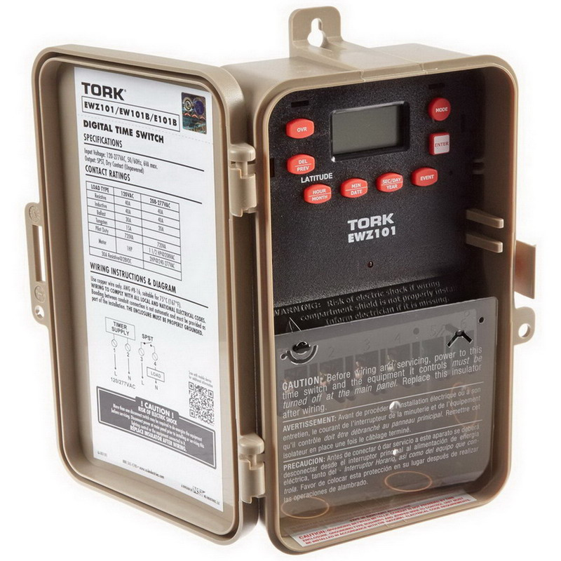 NSI EWZ101 Tork® EWZ Series 7 Day Astronomic Timer Switch; 1 min, Tan, SPST, 120 - 277 Volt AC