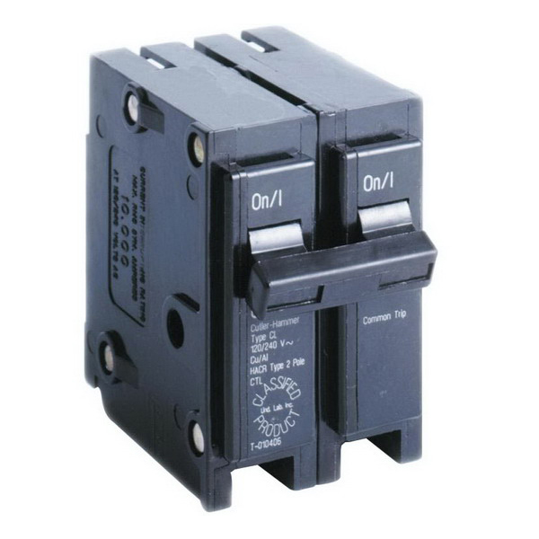 Eaton / Cutler Hammer CL225 Circuit Breaker; 25 Amp, 120/240 Volt, 2-Pole, Plug-On Mount