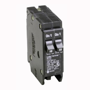 Eaton / Cutler Hammer BR1515 Circuit Breaker; (2) Single Pole 15 Amp, 120 Volt AC, 1-Pole, Plug-On Mount