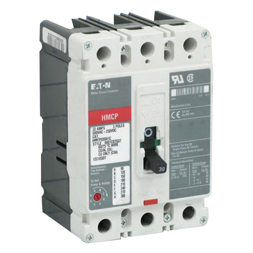 Eaton / Cutler Hammer HMCP030H1C Series C Molded Case Motor Circuit Breaker; 30 Amp, 600 Volt AC, 250 Volt DC, 3-Pole