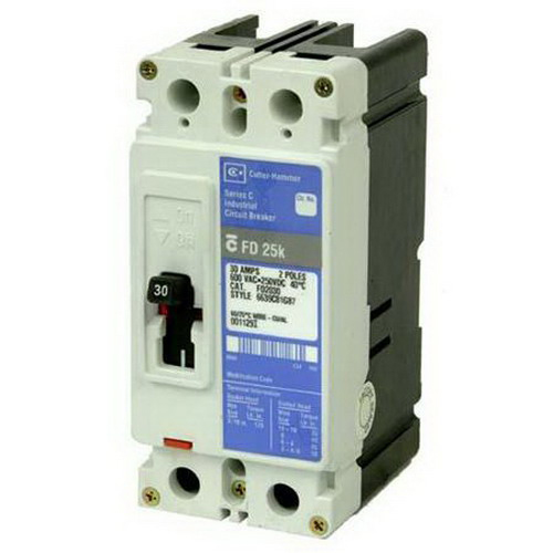 Eaton / Cutler Hammer EHD2020 Series C Molded Case Circuit Breaker; 20 Amp, 480 Volt AC, 250 Volt DC, 2-Pole, Panel Mount