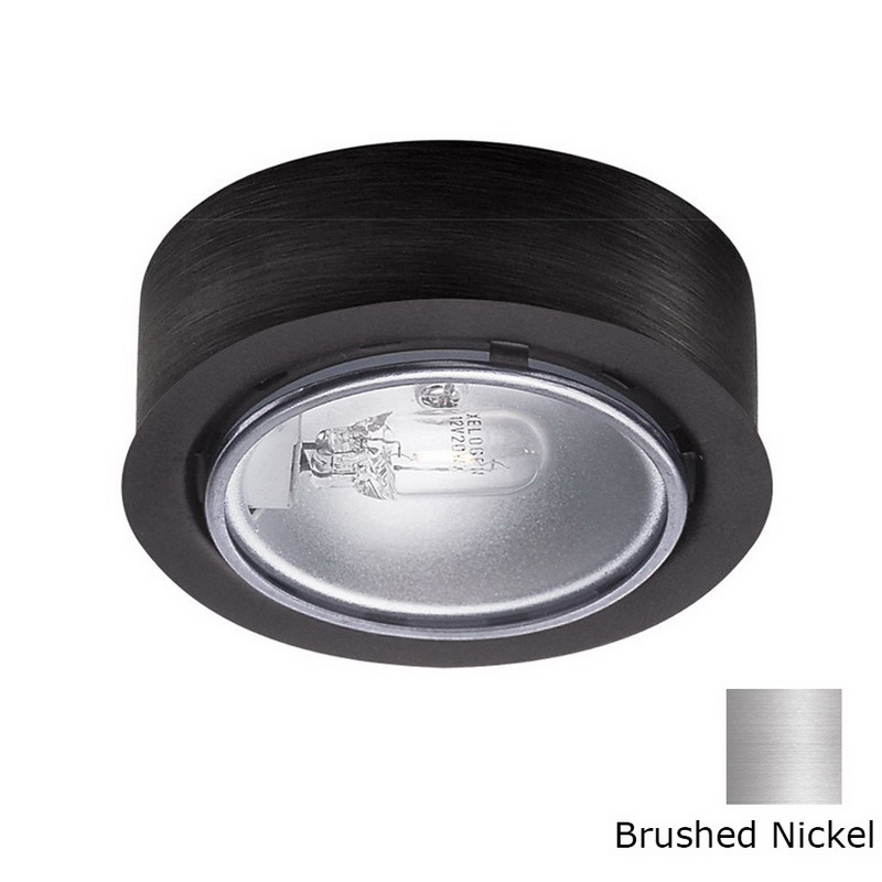 WAC Lighting HR-88-BN 1-Light Halogen Round Low Voltage Under-Cabinet Button Light; 20 Watt, 12 Volt, Brushed Nickel, Lamp Included