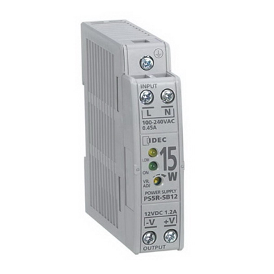 Idec PS5R-SB24 PS5R Slim Line Switching Power Pack; 100 - 240 Volt AC Input/24 Volt DC Output, 0.65 Amp, 15 Watt, Din Rail/Panel Mounting, 1 Phase