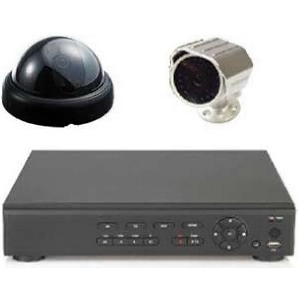 Opticom KD4-4D Dome Camera/DVR Kit; 12 Inch x 9.600 Inch x 2.400 Inch, 250 GB Storage, 25 Watt