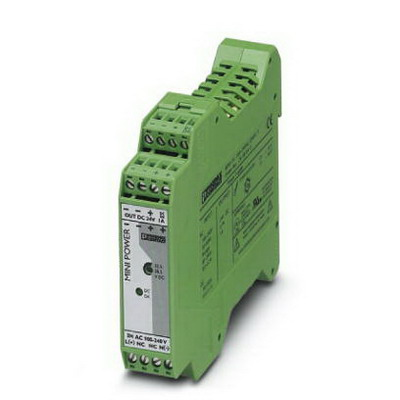 Phoenix Contact Phoenix 2938840 Mini-PS Slim Design Industrial Power Supply; 85 - 264/90 - 350 Volt AC/DC Input, 24 Volt DC At 1 Amp Output, 1 Amp, 24 Watt, DIN Rail Mounting