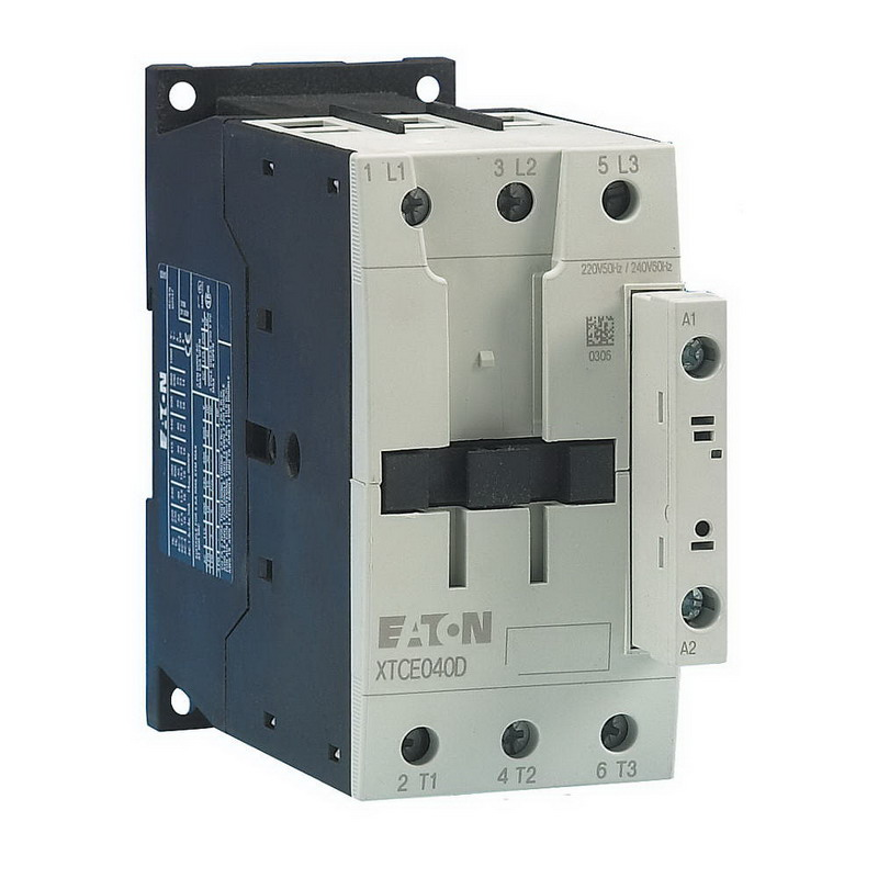 Eaton / Cutler Hammer XTCE050D00TD Non-Reversing IEC Contactor; 3-Pole, 1 Or 3 Phase, 50 Amp, 24-27 Volt Coil
