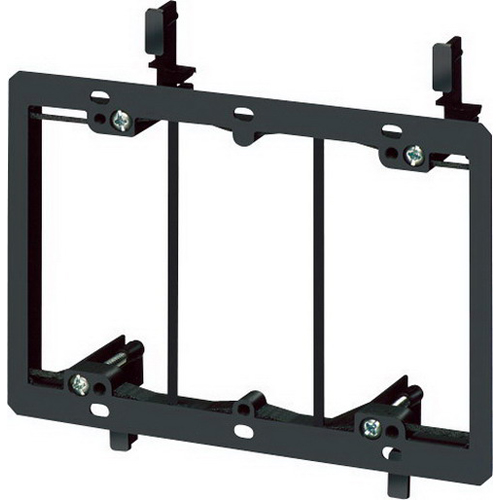 Arlington LV3 Low Voltage Mounting Bracket; 3-Gang, 6 Inch x 1.700 Inch x 5.46 Inch, Plastic, Black