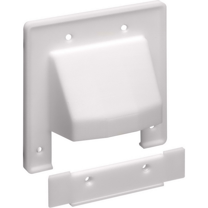 Arlington CER2 Scoop™ 2-Gang Reversible Two-Piece Low-Voltage Cable Entrance Plate; Paintable Plastic, White