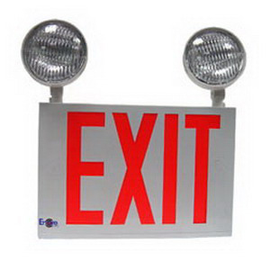 Encore Lighting LC8-2 Enore Self Powered LC8 Series Exit Combination With Heads 120/277 Volt AC  12 Watt  Red Letter