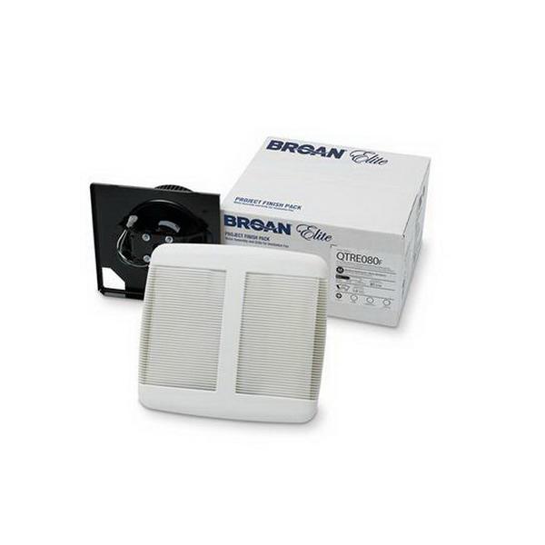 Broan Nu-Tone QTRE080F Bath Fan Project One-Pack Finish Kit; 120 Volt, 0.3 Amp, 80 CFM at 0.100 Inch, 55 CFM At 0.250 Inch, White
