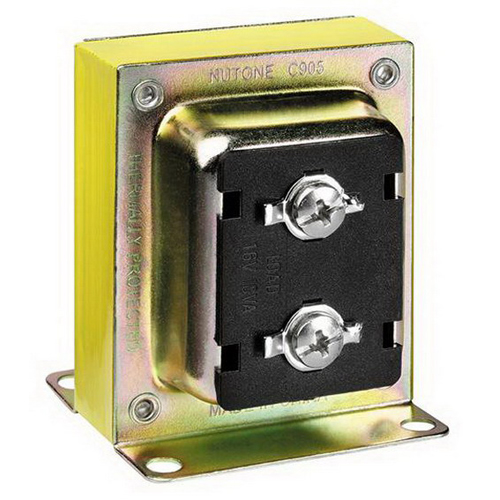 Broan Nu-Tone C905 Low Voltage 1 Tap Door Chime Transformer; 1 Phase, 120 Volt Primary/16 Volt Secondary, Surface Mount, Steel