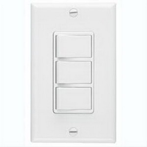 Broan Nu-Tone 66W 3-Function Control With Wall Plate; 120 Volt AC, 20 Amp, Rocker Switch, White