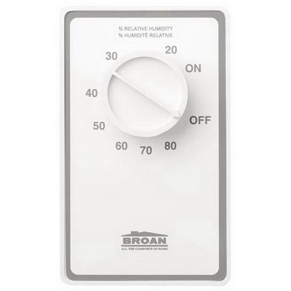 Broan Nu-Tone DH100W Dehumidistat Wall Control; 120/240 Volt AC, 24 Volt DC, 10/15 Amp, White