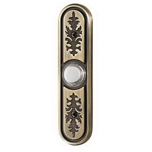Broan Nu-Tone PB64LAB Lighted Textured Wired Pushbutton; Antique Brass
