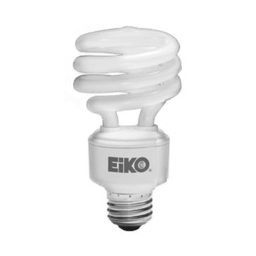 Eiko SP19/50K Spiral Compact Fluorescent Lamp; 18 Watt, 120 Volt, 5000K, 80 CRI, Medium Screw (E26) Base, 10000 Hour Life