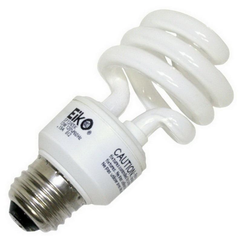 Eiko SP13/65K Spiral Compact Fluorescent Lamp; 13 Watt, 120 Volt, 6500K, 82 CRI, Medium Screw (E26) Base, 10000 Hour Life