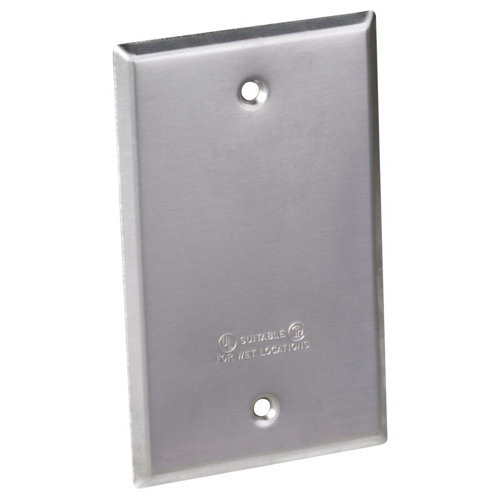 Red Dot S340E 1-Gang Blank Receptacle Box Cover; Device Mount, Stamped Aluminum, Silver
