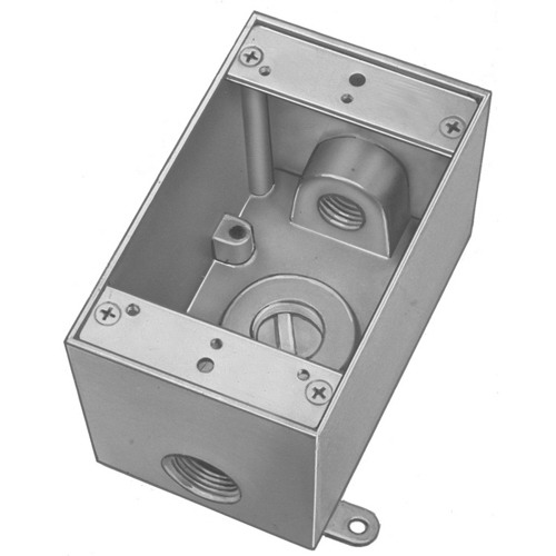 Red Dot DIH3-3-LM D-Pak Dry-Tite 1-Gang Universal Weatherproof Box With Lugs; Die-Cast A380 Aluminum Alloy, Silver