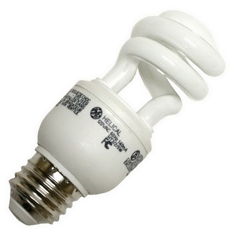GE Lamps FLE9HT3/2/841-120 Self-Ballasted T3 Compact Fluorescent Lamp; 9 Watt, 120 Volt, 4100K, Medium Screw (E26) Base, 10000 Hour Life