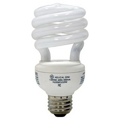 GE Lamps FLE20HT3/2/841 Quartzline® Self-Ballasted Spiral T3 Compact Fluorescent Lamp; 20 Watt, 120 Volt, 4100K, 82 CRI, Medium Screw (E26) Base, 8000 Hour Life