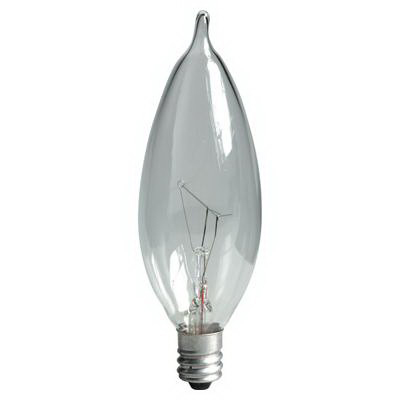 GE Lamps 60CAC-120 Quartzline® Decorative Candle Bent-Tip CA10 Incandescent Lamp; 60 Watt, 120 Volt, 2500K, Candelabra Screw (E12) Base, 1500 Hour Life, Clear