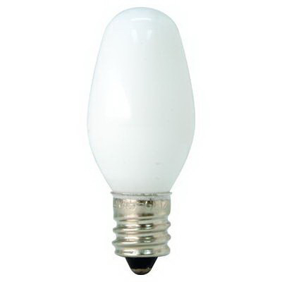 GE Lamps 4C7/W-CD2-120 NightlightQuartzline® Decorative Candle C7 Incandescent Lamp; 4 Watt, 120 Volt, Candelabra Screw (E12) Base, 3000 Hour Life, White