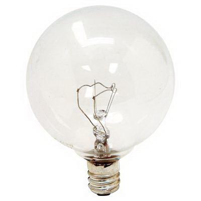 GE Lamps 40GC-120 Quartzline® Decorative Globe G16.5 Incandescent Lamp; 40 Watt, 120 Volt, 2500K, Candelabra Screw (E12) Base, 1500 Hour Life, Clear
